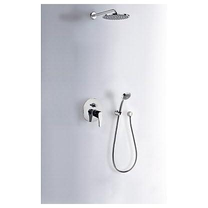 Kit de ducha monomando empotrado · Ducha fija Ø200mm. · Codo toma pared.  · Ducha anticalcárea Ø80mm. · Flexo doble engatillado