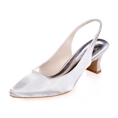 Wuyulunbi@ Scarpe donna raso Primavera Estate della pompa base di nozze blocco scarpe tacco punta quadrata per la festa di nozze & Sera viola blu argento Champagne Bianco