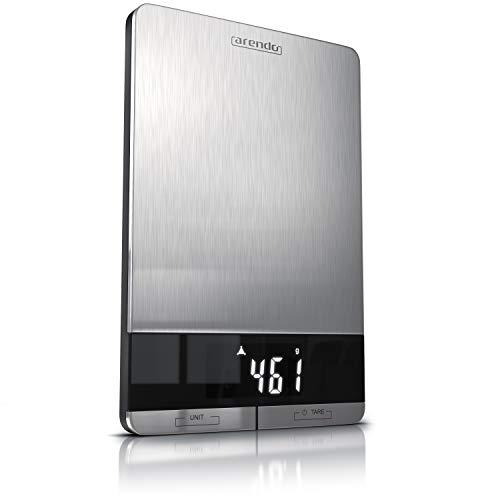 Arendo - Edelstahl Küchenwaage digital | Digitalwaage | maximale Tragkraft 5000 g | Tara Wiegefunktion | Hold | Überlast Anzeige | Touch Bedienfeld | automatische Abschaltung | Antirutschfüße