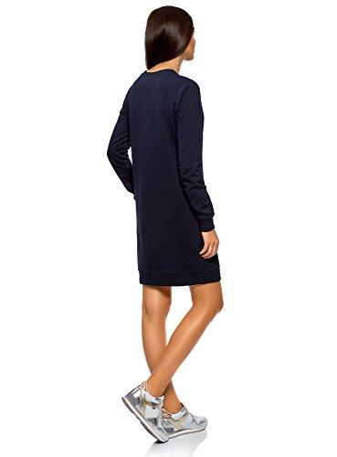 oodji Ultra Damen Kleid Basic im Sport-Stil Blau (7900N)