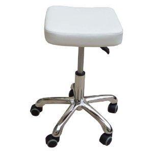 12359 Kosmetikhocker aus Leder weiß, Sitzhöhe stufenlos höhenverstellbar