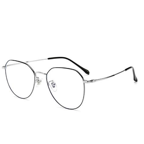 LHPT Lesebrille HD, tragbar, gegen Ermüdung optischer Glassen, Röntgen-Schutzbrille, Gläser aus Titanlegierung, Spiegelspiegel, flach, Retro, Metall, mit Rahmen der Gläser
