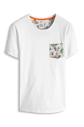edc by ESPRIT Herren T-Shirt 056cc2k032 mit Brusttasche-Slim Fit Weiß (White 100)
