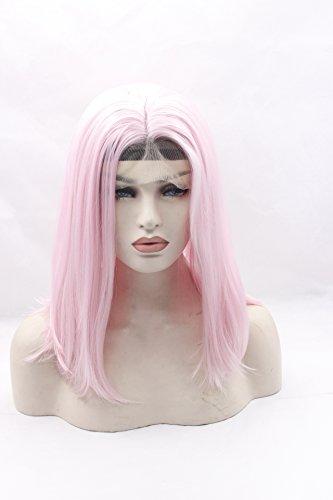 ze Bob Stil Gerade Haar Hitzebeständig Haar Perücken handgefertigt klebefreien Kunsthaar-Perücke Spitze vorne (Rosa Bienenstock Perücke)