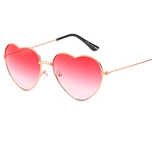 VRTUR 1 Stück Damen Metall Sonnenbrillen Nettes Herz-Form-Design Objektiv Outdoor Brillen Form Sonnenbrillen Unisex(One size,M)