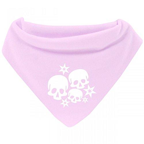 Mikalino Baby Halstuch Bandana Skulls and Stars mit Klettverschluss, Farbe:rosa