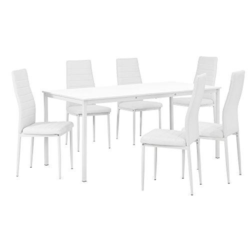 [en.casa] Hochwertiger Esstisch in weiß mit 6 weißen Polsterstühlen - 160cm x 80cm
