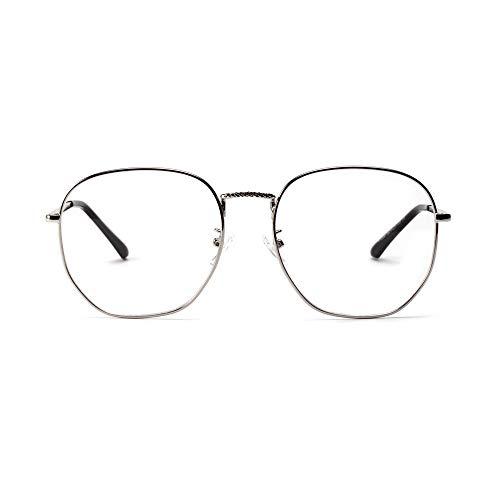BAACHANG Großer Rahmen, Retro Clear Lens Vintage Geek übergroße Wimpern (Farbe : Silver)