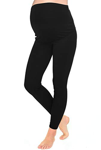 Mija – Leggins de maternidad calientes longitud completa para invierno primavera y otono 7203 (EU 40, Negro)