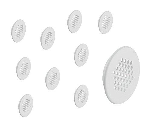 Preisvergleich Produktbild 10 Stück - GedoTec® Möbel-Gitter Lüftungsgitter rund Abluftgitter weiß mit Lamellen für Möbel & Wohnmobil / Belüftungsgitter Ø 48 mm / Türgitter rund aus Kunststoff / Möbelbeschläge von GedoTec®