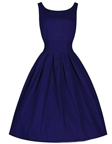 SMITHROAD Damen Weinlese Rockabilly Swing Abend Kleid 50er Faltenrock Dunkelblau