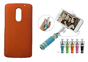 Toppings Hard Case Cover With Mini Selfie Stick For Lenovo Vibe X3 - Orange