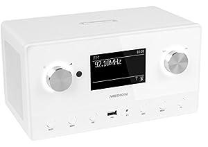 MEDION LIFE MD 87566 Internetradio mit Wlan, DAB+ Radioempfang, USB Steckplatz, Holzgehäuse, weiß