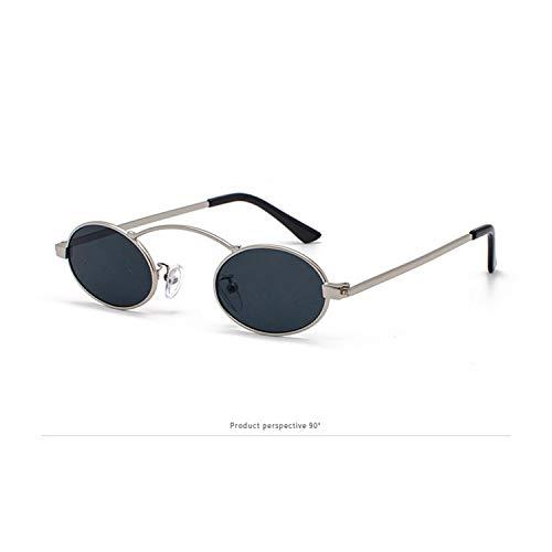 FIRM-CASE Frauen Oval Sonnenbrille Mode für Männer Kleinen Metall-Gläser Retro Ozean-Objektiv, Rot, Gelb Brille, 2