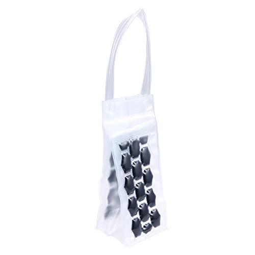 BESTONZON 750 ML PVC Champagne Vin Pouch Cooler Bag Ice Sac fourre-Tout en Gel Transparent de Protection de Transport avec poignée (Noir)