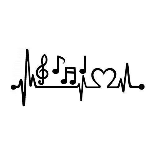 AchidistviQ Musiknote Elektrokardiogramm Herzschlag Auto Styling Fenster Laptop Aufkleber Aufkleber Black