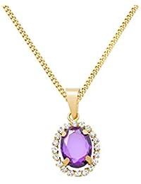 Miore Damen Halskette 9 Karat (375) Gelbgold rhodiniert Amethyst MA9097Z