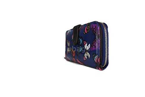 Miss Lulu, portafoglio da donna, con cerniera, motivo con farfalle Butterfly Navy