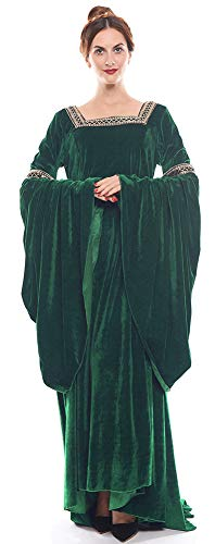 NSPSTT Damen Mittelalter Kleid Halloween Party Kostüm Renaissance Maxi Kleider (50, Grün)