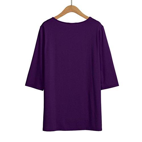 Femmes Demi-manche couleur unie grande taille chemise T-shirt tops robe Violet