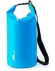 OME - Bolsa estanca impermeable de hasta 20 litros de capacidad, Bolsa Impermeable perfecta para la playa y deportes al aire libre color Azul ( Senderismo, esquí, buceo, pesca, escalada, camping)
