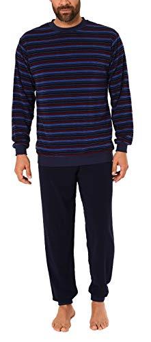 NORMANN WÄSCHEFABRIK Herren Frottee Pyjama Schlafanzug mit Bündchen, auch in Übergrößen - 281 101 93 702, Farbe:Marine, Größe2:54