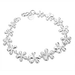 """Silver Plated Linked Glossy and Matte Flowers Bracelet Woman Bracelet """"Flora"""" - The British Bulldog Store"""
