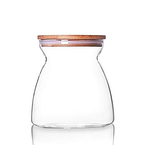 SAOJI Küche LagerungGlas Kanister Flasche Glas Candy Jar Vorratsbehälter für Tee Cookie Nuts Müsli mit Bambusdeckel 23oz, 37oz, 700ml - Tee-ring-cookies