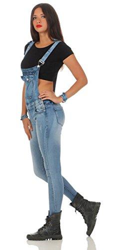 5068 Fashion4Young Damen Jeans Latzhose Röhrenjeans Latzjeans Slimline Damenlatzhose Blau