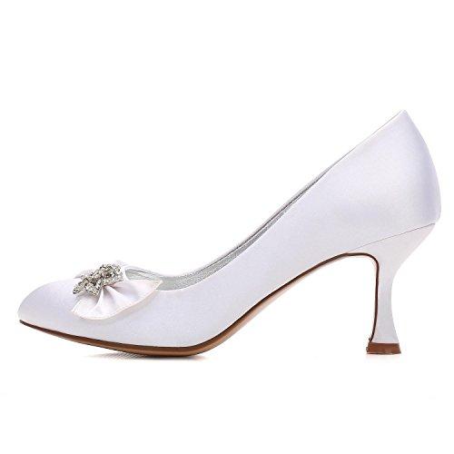 Elegant high shoes Scarpe da Sposa e Scarpe da Ballo in Raso Tondo Punta Rotonda F17061-30 da Donna con Applicazioni di Cristallo/Scarpe da Sposa Personalizzate Champagne