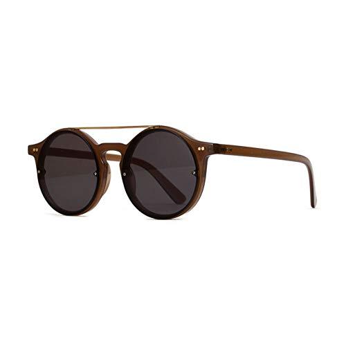 Chudanba Weinlese-Sonnenbrille-Frauen-Doppelbrücken-Mode-runder Rahmen-klare Farben-Objektiv-Sonnenbrille-transparente Brillen UV400,4