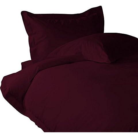 Suave y elegante 4piezas Juego de sábanas + 2piezas Funda de almohada de lujo 400TC vino sólido rey 100% algodón egipcio Extra profundo bolsillo (18Inche)–por TRP hojas–A26