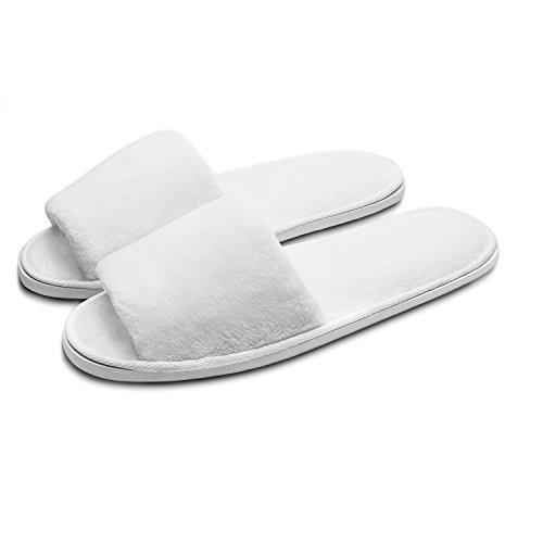 Echoapple Hausschuhe für den Winter, 3 Größen, geeignet für Spa, Party, Gäste, Hotel und Reisen, waschbar und Nicht Einweg, einfach zusammenklappbar und tragbar, Weiß - White-5 Pairs - Größe: S