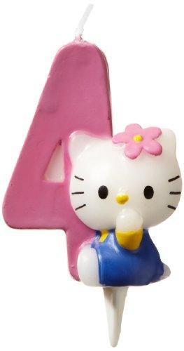 Dekoback 02-08-00171 - Vela para tartas con número 4, diseño de Hello Kitty