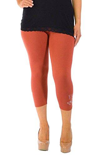 Nouvelle Collection Neu Damen Übergröße Leggings Frau Schmetterling Manschette Hose Womens Plus Size Leggings Butterfly Stud Cropped Rost 48-50 (Orange Womens Capris)