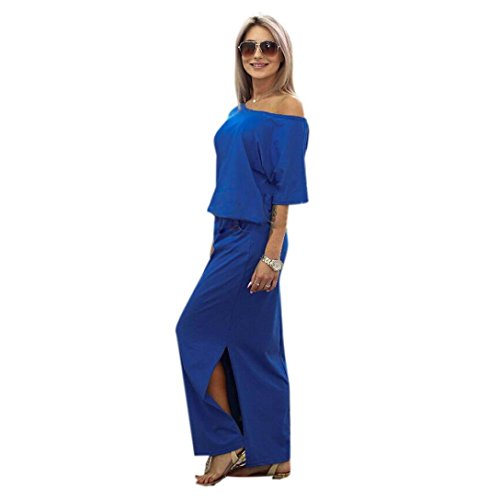 DAYSEVENTH DRESS Women Summer Slash Neck Casual Loose Pocket Half Sleeve Solid Long Maxi Dress(Blue, Large(UK 14))