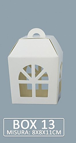 Pianeta confetti scatola modello lanterna per bomboniera portaconfetti, 8 x 8 x 10 cm, confezione da 20 pezzi