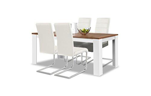 agionda® Esstisch + Stuhlset : 1 x Esstisch Toledo Nussbaum/Weiss 160 x 90 cm + 4 Freischwinger Weiss -
