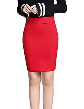 Mujer Faldas Cortas Lápiz Elásticos Talle Alto Color Sólido Moda Elegantes Sencillos Diario Negocios Fiesta Falda...