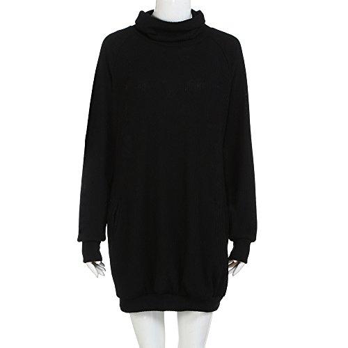 QingJiu Womens Rock Pocket Lose Dress Damen Rundhalsausschnitt Lässige Lange Tops Kleid Plus ()