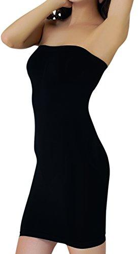 UnsichtBra Shapewear Damen Trägerloses Kleid | Shaping Unterkleid Trägerlos | Bodyformer Shape-Kleid in schwarz, weiß oder beige (sw_3200)(M,Schw.-Kniel.)