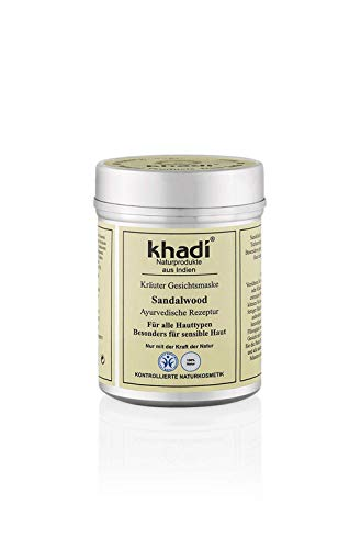 khadi Gesichtsmaske mit Sandelholz 50g I Natürliche Gesichtspflege für empfindliche und trockene Haut I Hautpflege nach ayurvedischer Tradition I Kontollierte Naturkosmetik 100% pflanzlich -