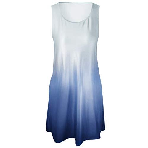 Markthym Frauen ärmellose Rundhalsausschnitt beiläufige lose passende Farbverlaufskleider Ärmelloses Kleid mit Rundhalsausschnitt für Damen Dolman Sleeve-rock
