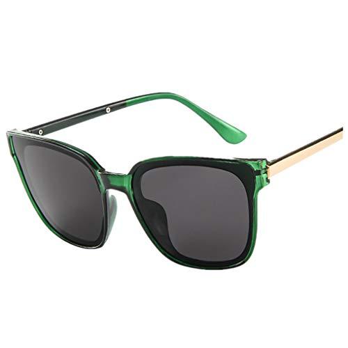 Oversized Sonnenbrille Polarisiert für Damen/Dorical Mode Über-Groß Designer Sonnenbrillen mit UV-400 Schutz Brille/Frauen Metall Rand Brillen Gespiegelte Linse Retro Sunglasses(Grün) -