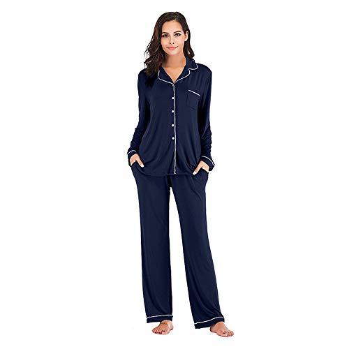 OLLOLCCY Damen Pyjama, Satin Nachtwäsche Set, Kurzarm Hemd & Hose mit Taschen Damen Nachtwäsche Silky Loungewear S ~ 2XL,Navy,XXL -