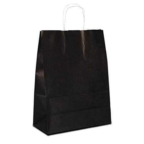 100 x Papiertragetaschen schwarz 22+10x28 cm | stabile Papiertüten farbig | Papierbeutel Kordelhenkel | Papiertaschen klein | Paper Bag | HUTNER