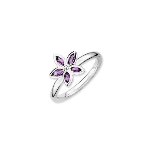 Black Bow Jewellery Company : Sterling Silver & Amethyst Stackable 5 Marquise Stone Flower Ring
