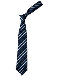 Neuf Unicol Fine Rayure Uniforme Scolaire Cravates Déguisement Enterrement Vie Jeune Fille Disco Cravate - unisexe adulte, Bleu, 114cm