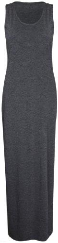 Purple Hanger - Damen Maxi Kleid U-Ausschnitt Trikot Racerback Ärmelloses Stretch Maxi Trägerkleid - Dunkelgrau, 44/46 -