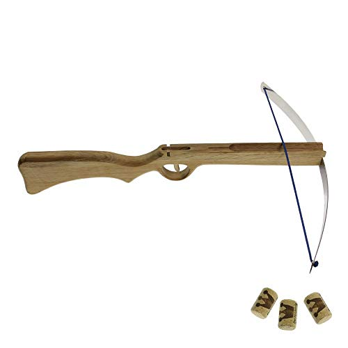Kinderarmbrust Holzarmbrus Spielzeugarmbrust Holzkönig Korkenarmbrust mit Federstahlbügel